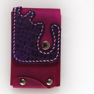 Purple double touch card holder hand-sewn 140509