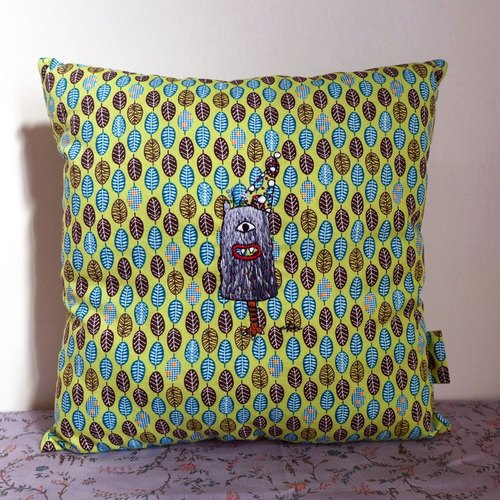 Little monster - illustration embroidery small pillow