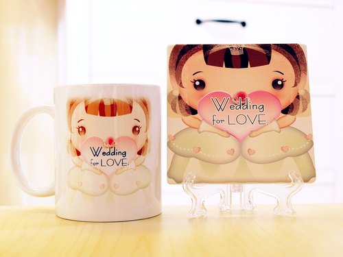 """. Wedding for LOVE small wedding was a"" third generation Q version Style - Q bride (Wedding Edition). Mug (straight) - a combination of coaster"