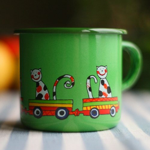 Smaltum Prague enamel cup Wang meow friend _ Grass Green (250ml) <FDN000036>