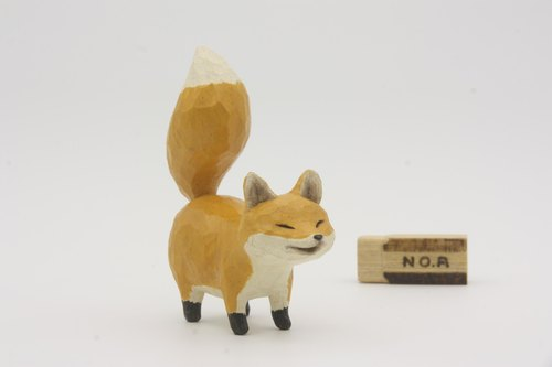 Department of Small Animal Healing woodcarving small fox _ A_ yellow _Fox (hand-carved wood)