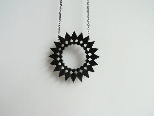 Angle black black star necklace - Cosmos series
