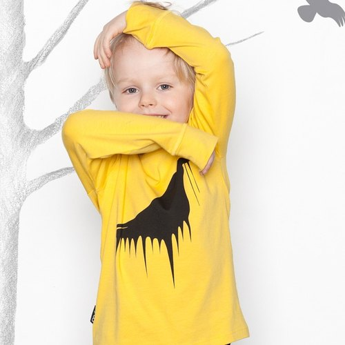 [Scandinavian design] mói organic cotton duck crossing yellow long-sleeved T-shirt Kids Yello Big Raven-lt3