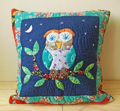 [Music] beat India Handmade Patchwork animal pillow cover (Owl)