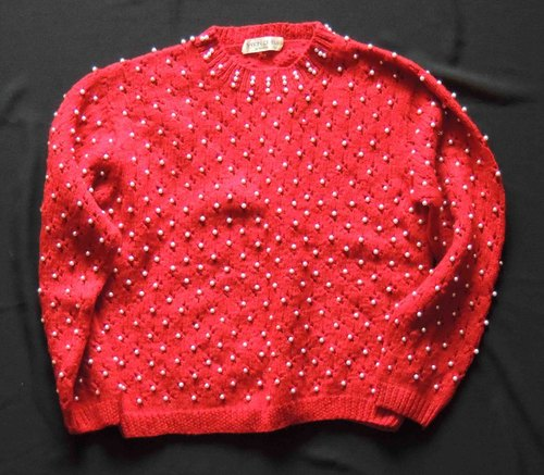 ❄ ❄ temperament small fresh vintage - Hand full version pearl red sweater