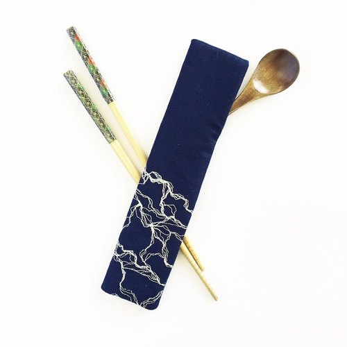 Marble embroidery chopstick holder, Navy blue chopstick case, cutlery holder