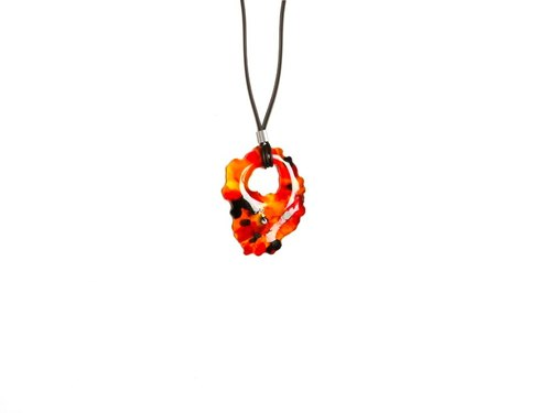 Marbling glass necklaces - passion fruit