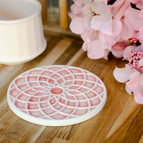 docoramics grilles coasters -Piazza del Rose- red limited edition