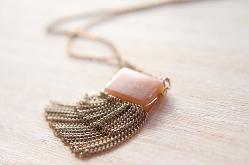 < ☞ HAND IN HAND ☜ > Tiger Eye - small bangs brass long necklace (0631)
