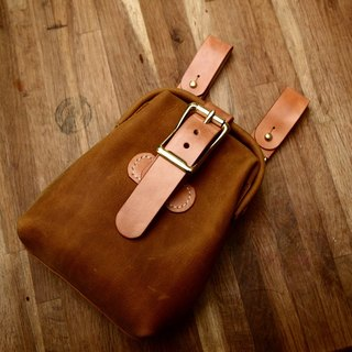 Cans of pure hand-made handmade leather satchel mouth rumped issue yellow brown leather crazy horse