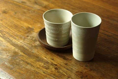 Japan's century-old IZAWA Lirica butterfly lace and little decorative beer mug / cup white high + long spoon stirring timber group