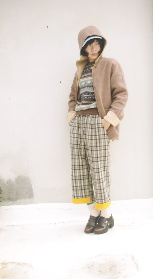 4.5studio- independent hand-made by FU- nostalgic gentleman coffee Plaid pants wide yellow block discounts