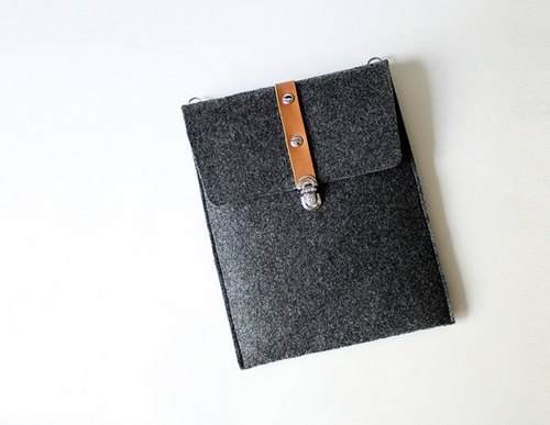 Handmade Gray felt iPad mini case, Vertical sleeve