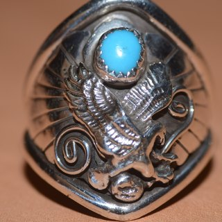 NAVAJO Silver Ring old should Indiana style, hippie, Harley, heavy machinery, American, Indian