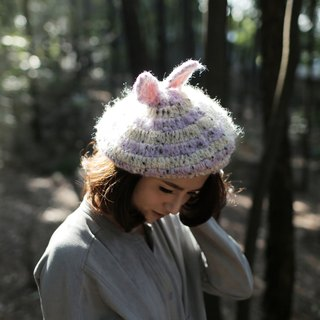 MR.STORE handmade wool hat purple taro dessert yellow bunny ear hat painter hat Duobei Lei