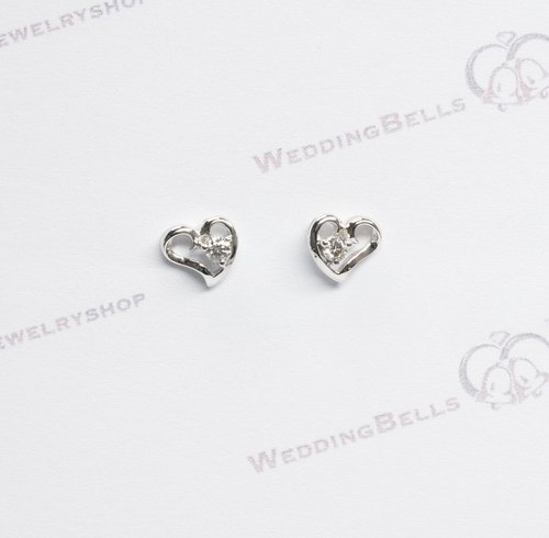 18K White Gold Diamond Ribbon Heart Shaped Stud Earrings / Heart (Free Shipping)
