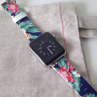 Apple Watch Series 1, Series 2 and Series 3  - 夏威夷花型圖案Apple Watch 真皮手錶帶38 / 42mm ,100%香港設計及製作 - 50