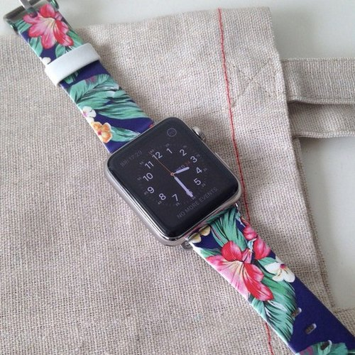 Apple Watch Series 1, Series 2 and Series 3  - Hawaii Colorful Flowers Pattern Printed on Genuine Leather for Apple Watch Strap Band 38 / 42 mm - 50