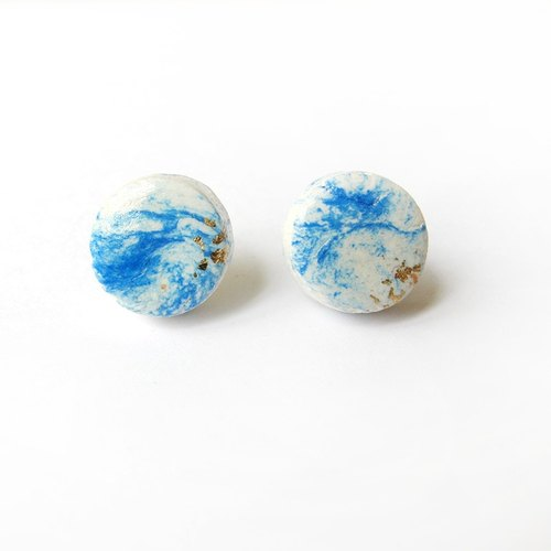 [WonderLab] hand-dyed small planet circular ear pin earrings / earrings - light blue