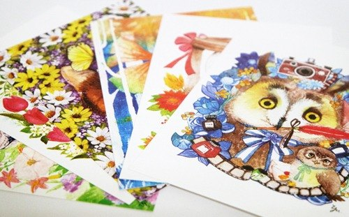 Mr. L nose illustration postcard set (6 in)