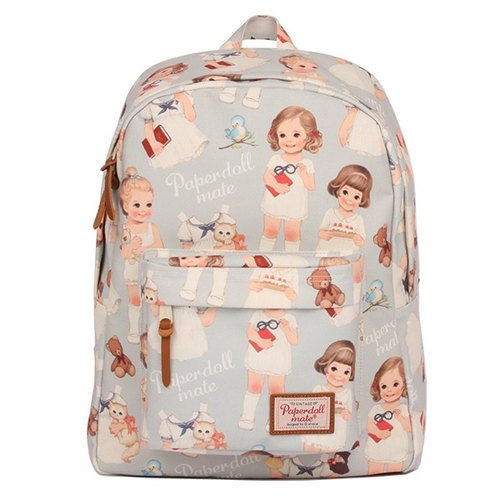 After a water [She] Korean cattle Afrocat paper doll mate backpack <Blue Gray> Vintage doll waterproof backpack
