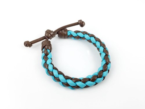 Light blue brown four-stranded braid