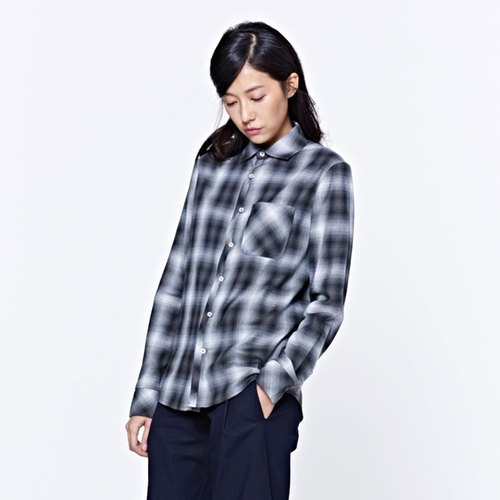 Lay Shirt Collagen Collar Shirt Gray Grid