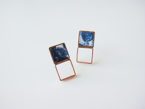 MARBLE SEA- sea square earrings / handmade hand-made earrings / jewelry gifts