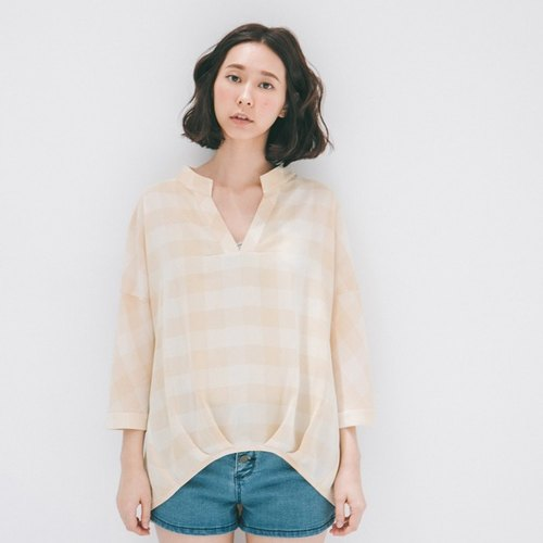 Xu Xu children ♪ V-neck plaid shirt whims _ khaki