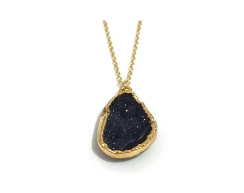 Gold Plated Black Druzy Agate Necklace