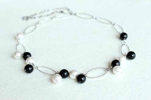 White and black crystal pearl necklace length dual Swarovski crystal pearls