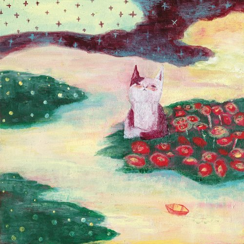 Cat dreams / cat, illustration postcard dream group, cards
