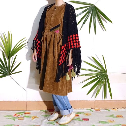 BajuTua / Vintage / brown thick cotton velvet dress warm Xiaojian