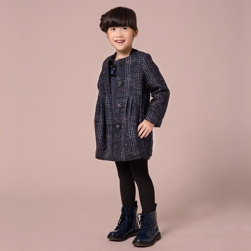 Ángeles- An He designer clothing blue / khaki round neck wool coat Glitter (8 years old to 10 years old)