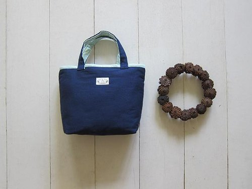 Macaron Series - Small canvas tote bag navy blue + mint