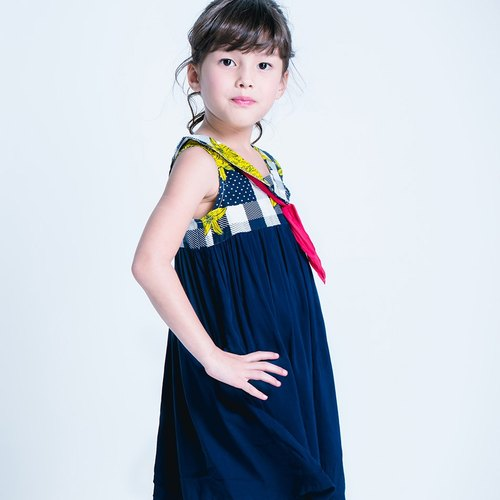 Minibite picnic Bunny sailor collar dress