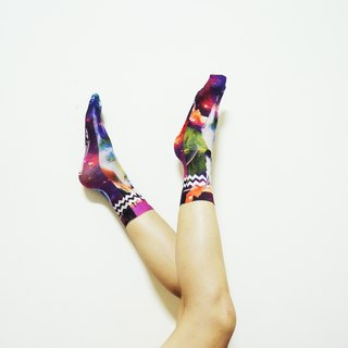 O+S=Unicosmos Double-sided unicorn pegasus cosmos universe galaxy colorful Printed Socks