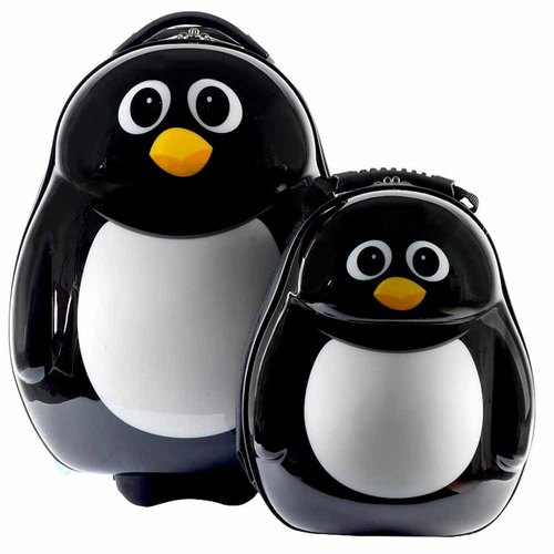[British cuties and pals] 16-inch egg-shaped light monocoque child exclusive suitcase +13 inch backpack Group (Penguin)