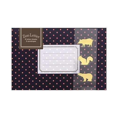 [Japanese] Letter Set LABCLIP series Zoo stationery set / navy