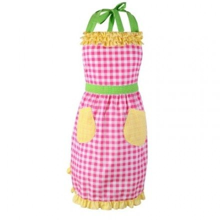 GINGER │ Denmark and Thailand Design - piping Check double pocket Apron - Pink
