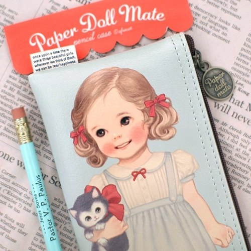 韓國【Afrocat】paper doll mate pencil case6〈Alice〉手帳 筆袋 鉛筆盒 收納