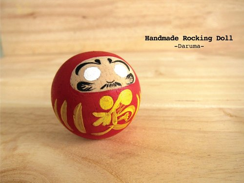 Cute and durable wooden Roly-poly doll (Rocking doll) Handmade decorate your room. Present for your important person.