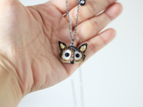 Black Wolf Necklace - Handmade necklace, Animal necklace, Polymer Clay pendant