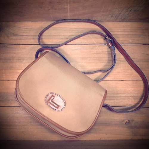 [Bones] early Lancel caramel leather x khaki canvas print retro dorsal packet genuine antique bag Vintage
