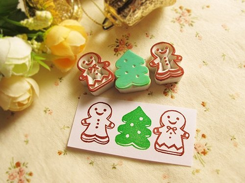 Apu handmade cute gingerbread villain rubber stamp seal three groups