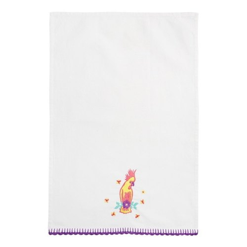 GINGER │ Denmark and Thailand design - hand-embroidered cotton tea towel parrot