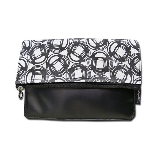 Black and white canvas bubble pattern leather clutch bag / clutch / evening bags