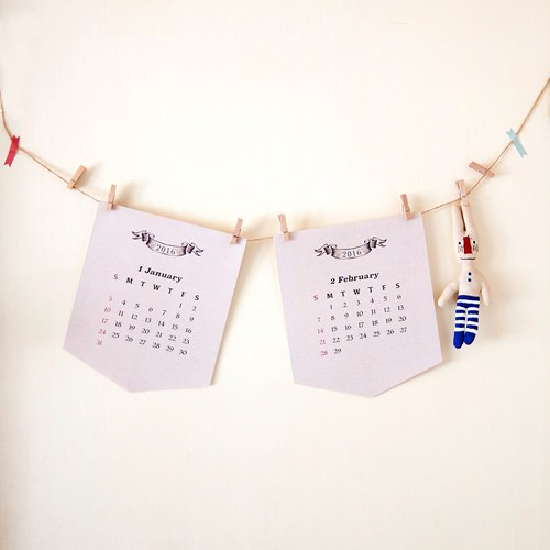 2016 Cartoon Colourful Pattern Flag Calendar, Monthly Calendar, Christmas Gift