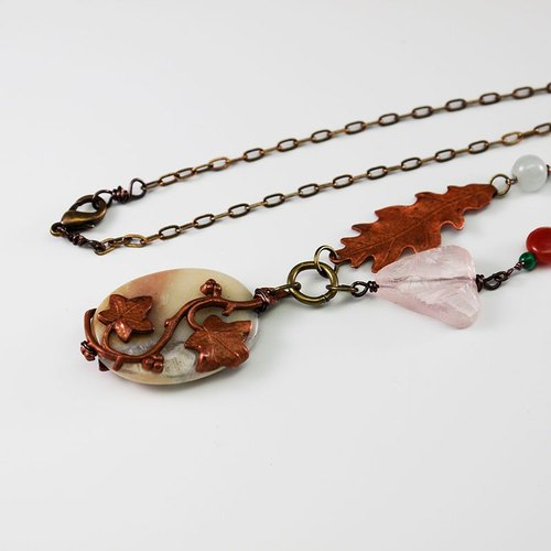 Ivy natural stone bronze long chain