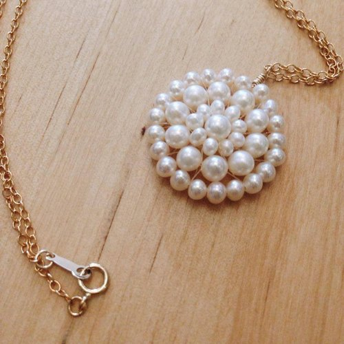 [Necklace] Freshwater Pearl + 14KGF of romantic necklace / LaceN01